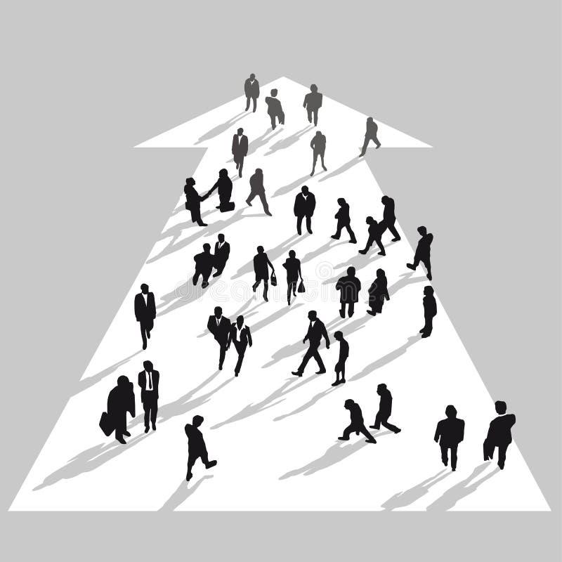 Executivos que movem-se na seta branca ilustração do vetor