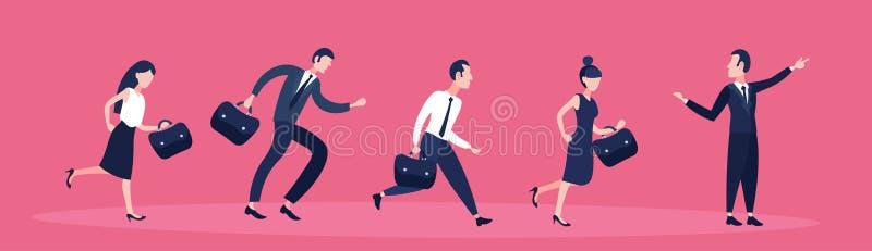 Executivos que seguem a bandeira horizontal lisa do conceito do sucesso dos trabalhos de equipe do sentido apontando do homem de  ilustração stock