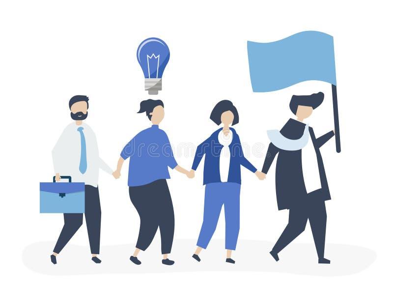 Executivos que seguem o líder para encontrar um novo mercado ilustração do vetor