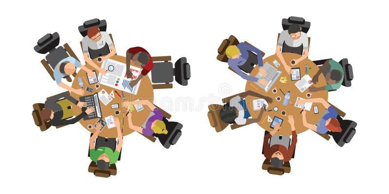 Executivos que sentam-se na ilustração do vetor da tabela ilustração royalty free