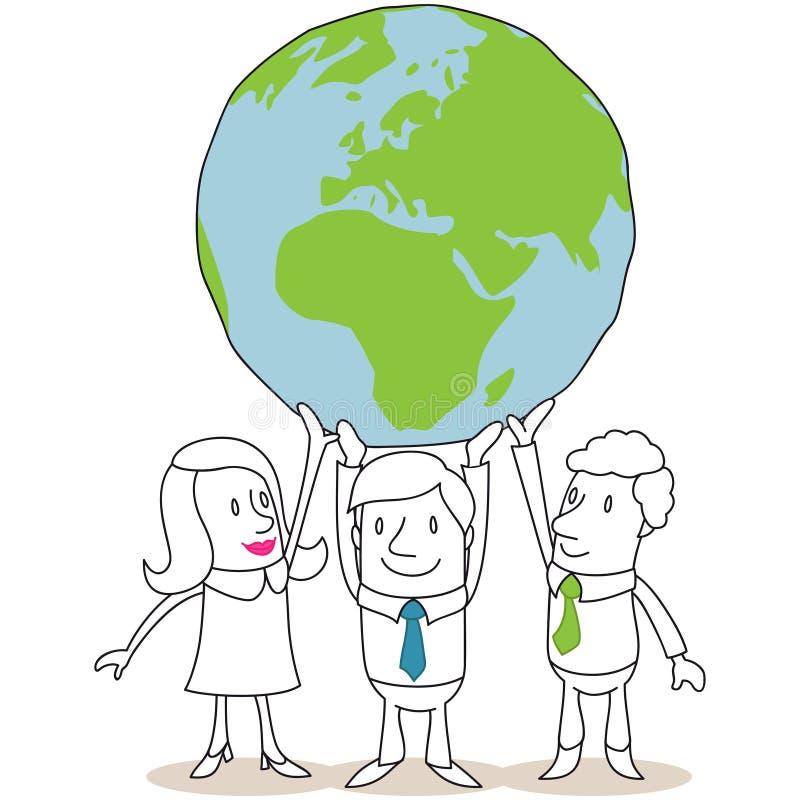 Executivos que sustentam o globo enorme ilustração do vetor