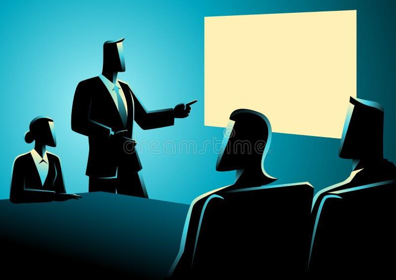 Executivos que têm uma reunião usando o projetor ilustração do vetor