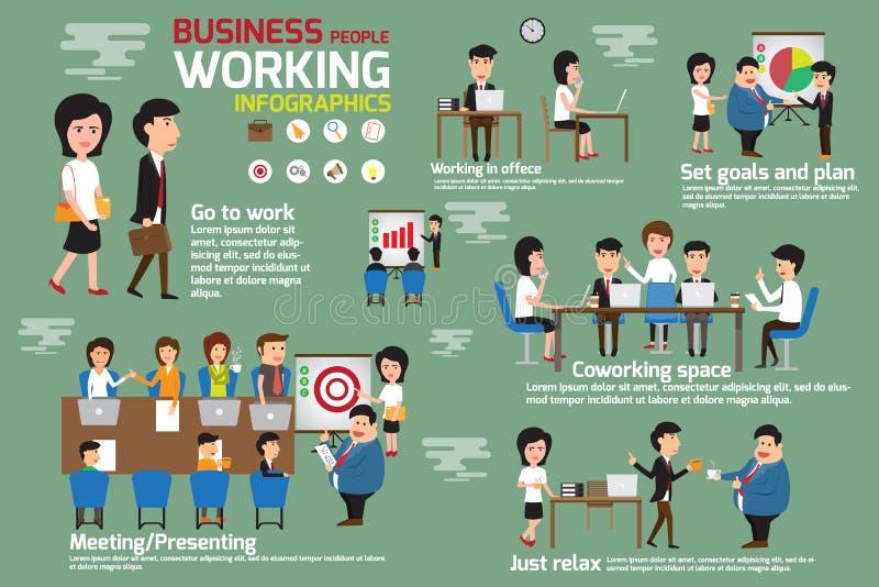 Executivos que trabalham elementos do infographics ilustração stock