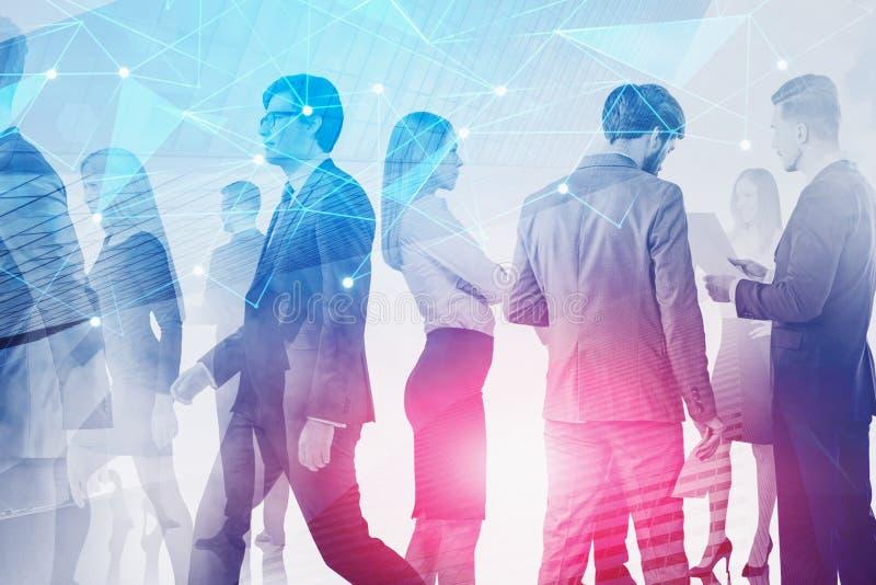 Executivos que trabalham na cidade, rede imagem de stock