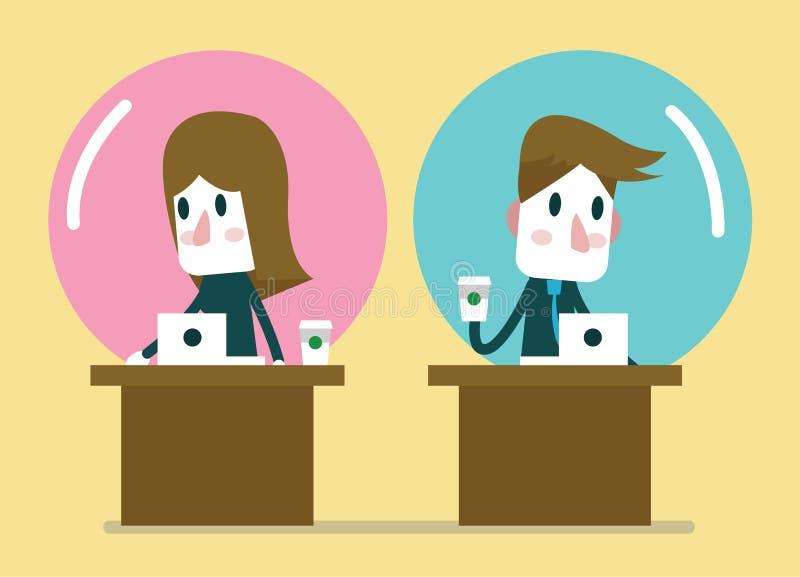 Executivos que trabalham no balão da zona de conforto ilustração stock