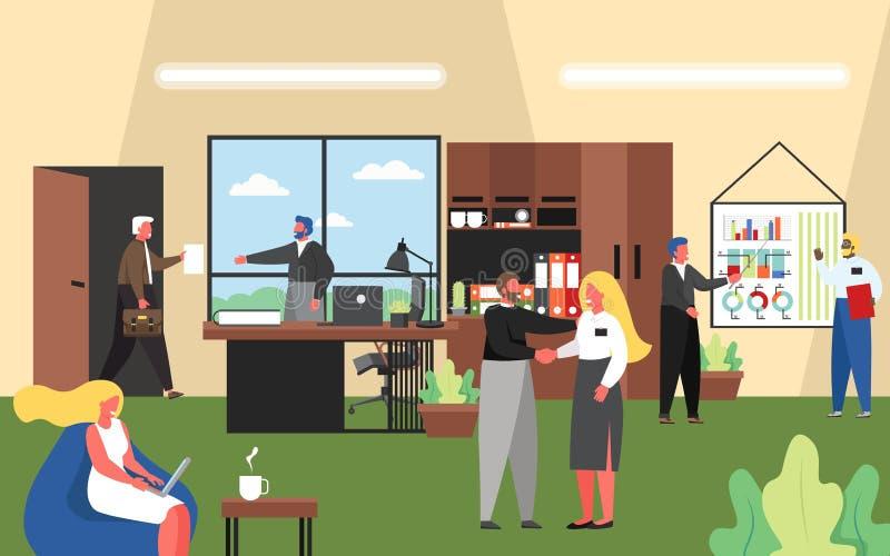Executivos que trabalham no escritório, ilustração lisa do vetor ilustração stock