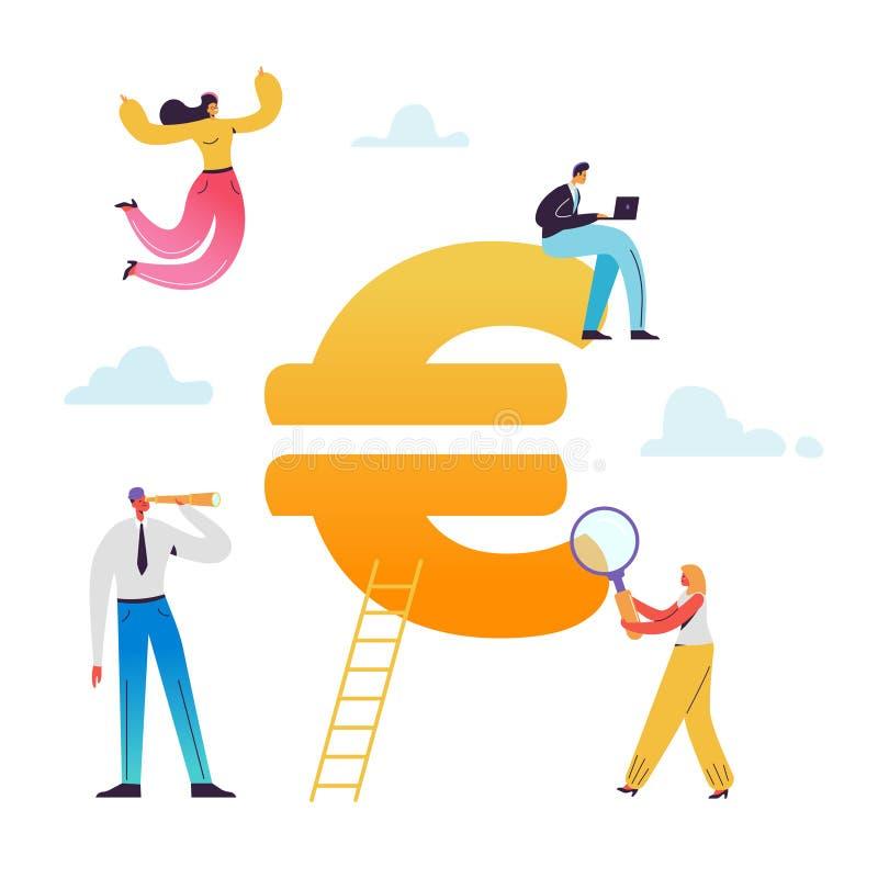 Executivos que trabalham no sinal de moeda do Euro Mercado europeu, consulta financeira, economias, economia ilustração stock