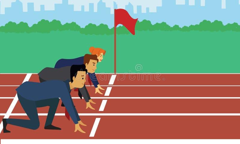 Executivos seguros que preparam-se para a raça ilustração do vetor