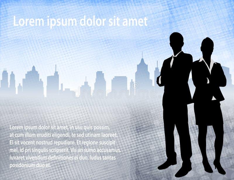 Executivos sobre o fundo urbano com espaço para o texto ilustração stock