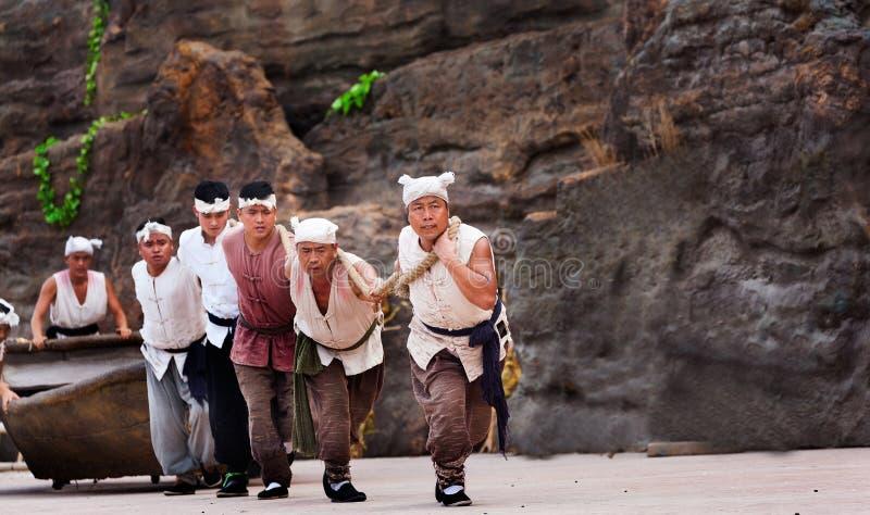 Executor da cachoeira do hukou em China fotografia de stock royalty free