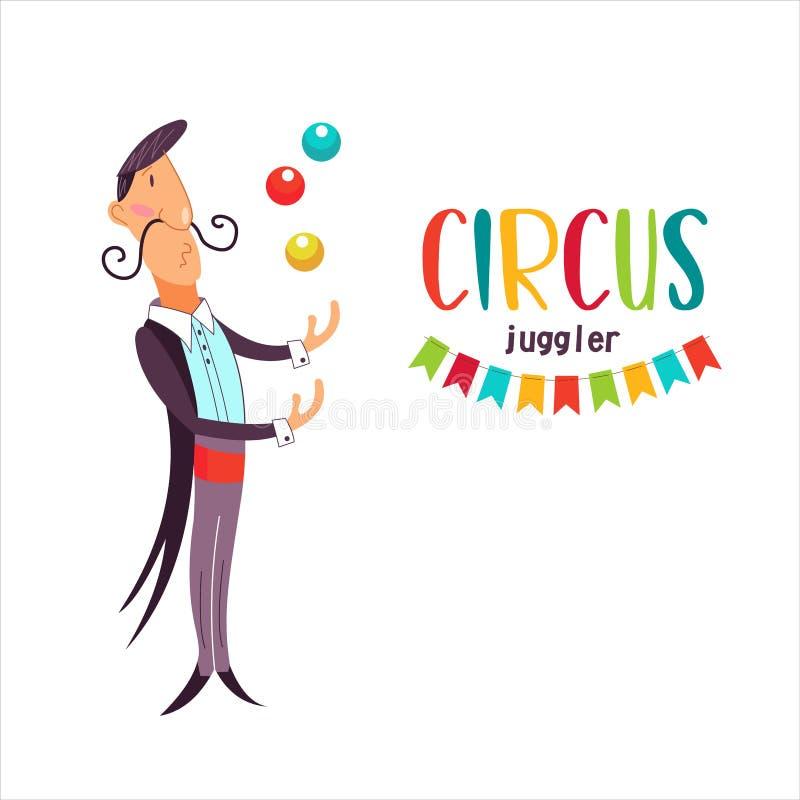 Executor de circo O juggler elegante manipula bolas coloridas Ilustração do vetor ilustração stock