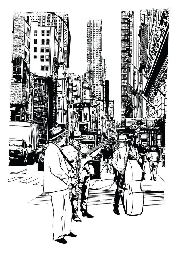 Executores da rua que jogam a música na 5a avenida em New York City ilustração royalty free