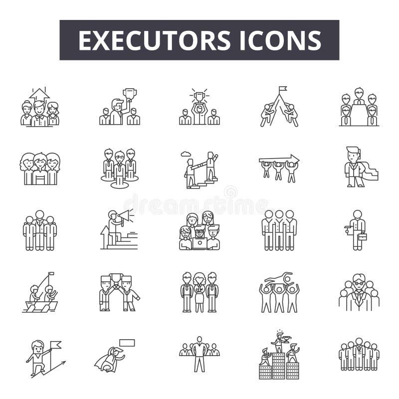 Exekutor fodrar symboler, tecken, vektoruppsättningen, översiktsillustrationbegrepp royaltyfri illustrationer