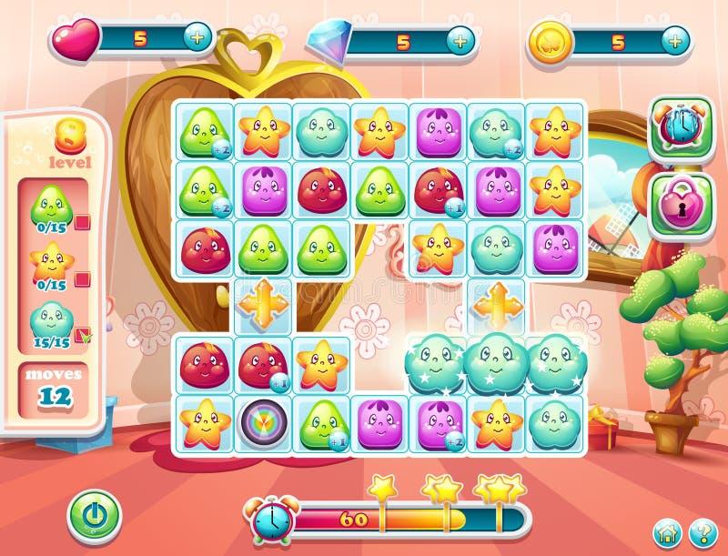 Exempel av spelplanen och användargränssnittet för leken stock illustrationer