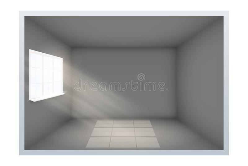 Exempel av tomt mörkt rum med fönstret stock illustrationer