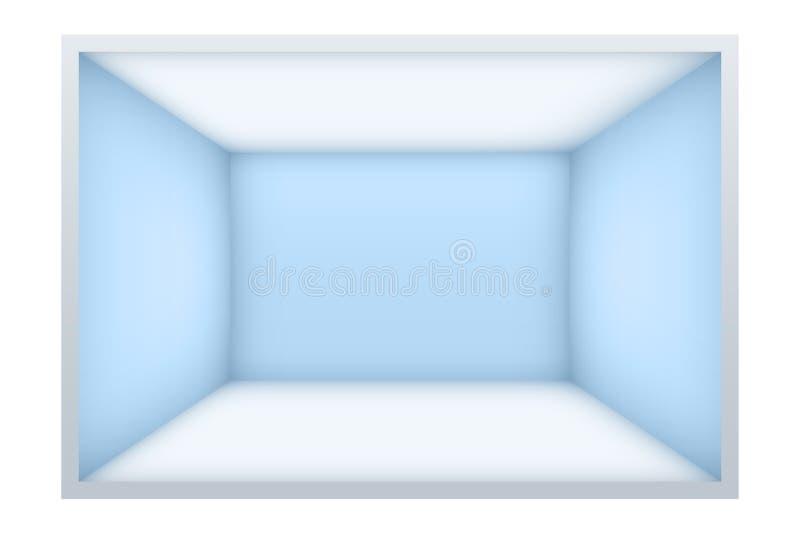 Exempel av tomt rum med blåa väggar stock illustrationer