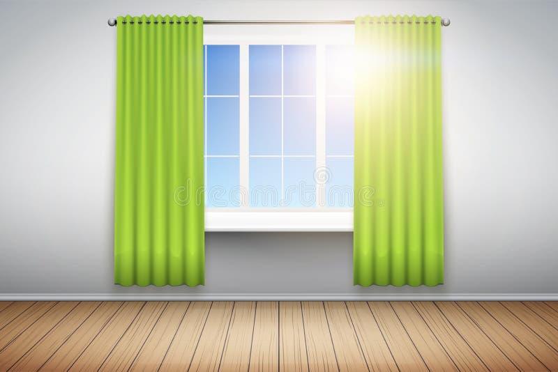 Exempel av tomt rum med fönstret stock illustrationer