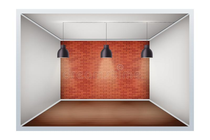 Exempel av tomt rum med tegelstenväggen stock illustrationer