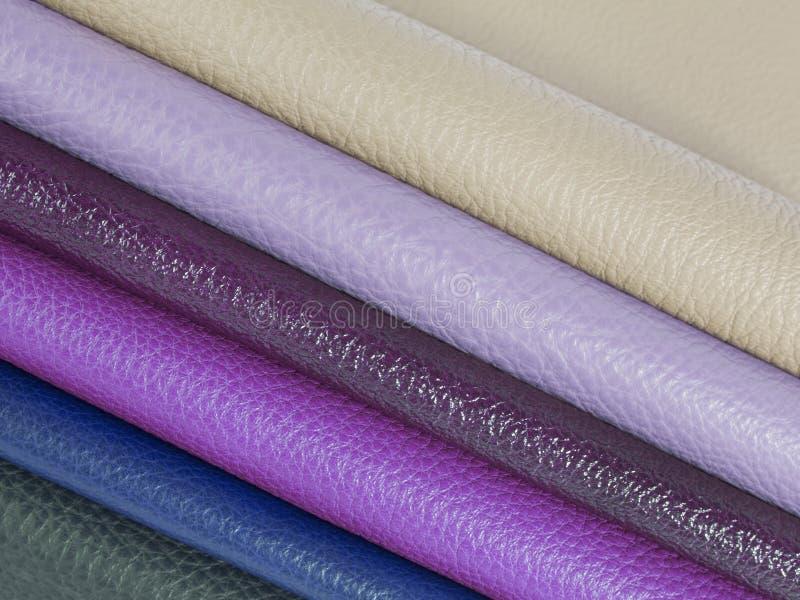 Exempel på naturliga lädertextilier arkivfoton