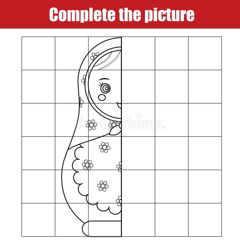 Exemplaar door net Voltooi het onderwijsspel van beeldkinderen, die pagina kleuren Het blad van de jonge geitjesactiviteit met ma stock illustratie