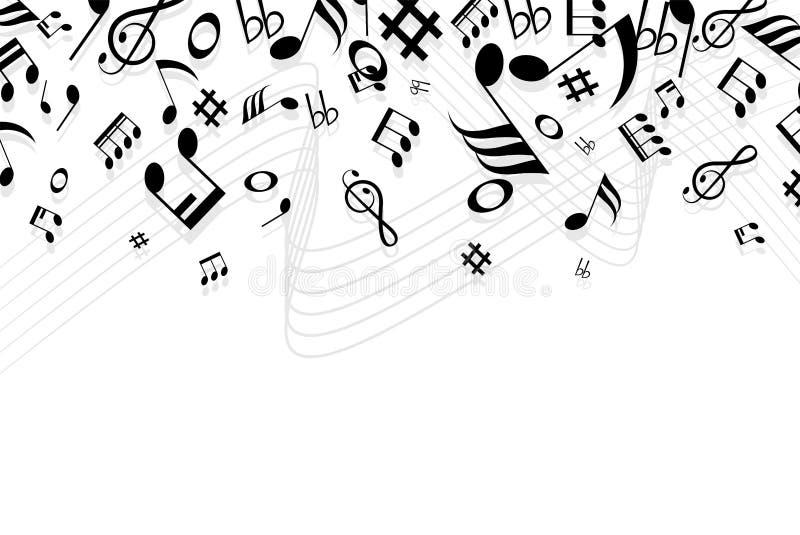 Exemplaar ruimteconcept, silhouetmuziek en nota'spictogram van reeks met geïsoleerd op witte achtergrond vector illustratie