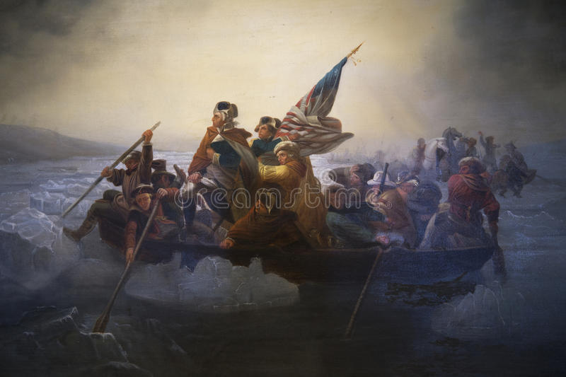 Exemplaar van Washington Crossing Delaware door Emanuel Leutze, Abbot Hall, Marblehead, Massachusetts, de V.S. royalty-vrije stock afbeelding