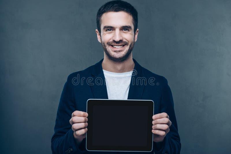 Exemplaarruimte in zijn digitale tablet royalty-vrije stock fotografie