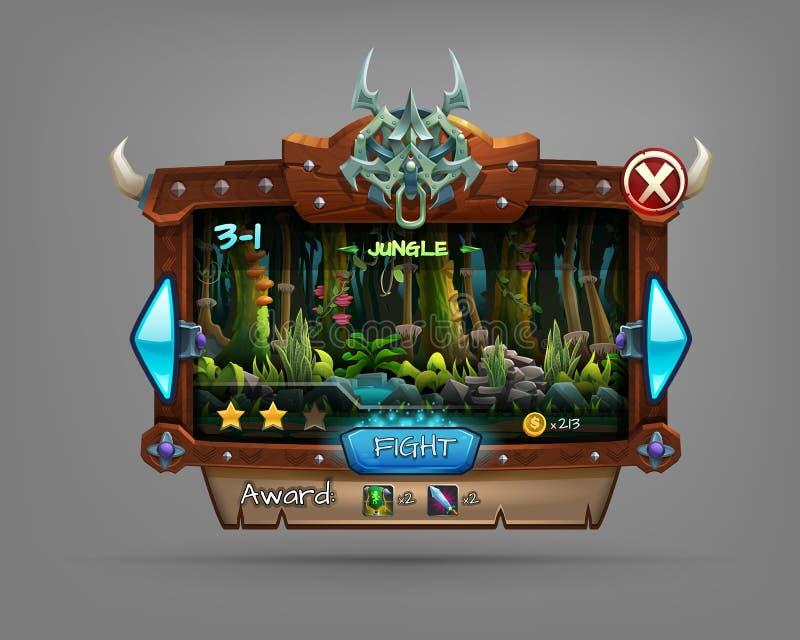 Exemple d'interface utilisateurs de conseil en bois d'un jeu d'ordinateur Choix de niveau de fenêtre illustration libre de droits