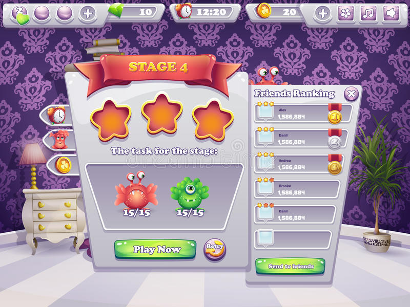 Exemple des tâches d'exécuter au niveau des monstres d'un jeu d'ordinateur illustration libre de droits