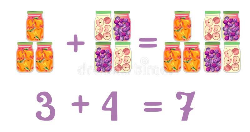 Exemples mathématiques en plus des pots en verre d'amusement Compote de prune, de poire et de pomme illustration stock