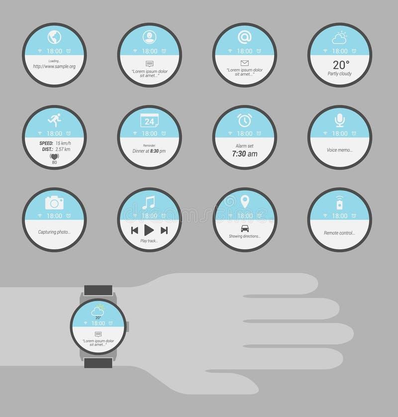 Exemples ronds d'affichage pour les montres intelligentes illustration stock