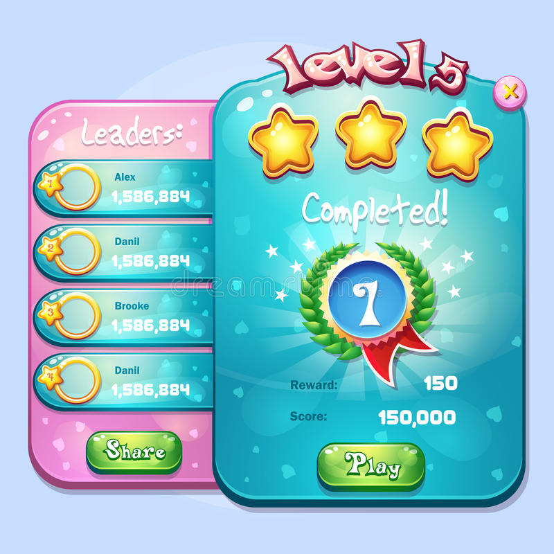 Exemplo da conclusão do nível da janela para um jogo de computador no estilo dos desenhos animados ilustração royalty free