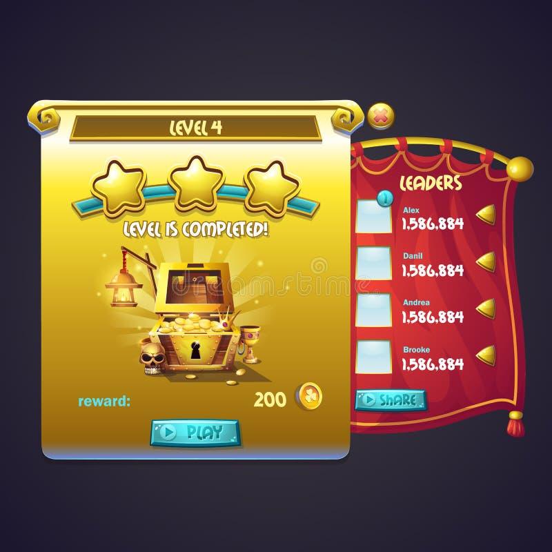 Exemplo da janela do trabalho ao nível de um jogo de computador ilustração royalty free