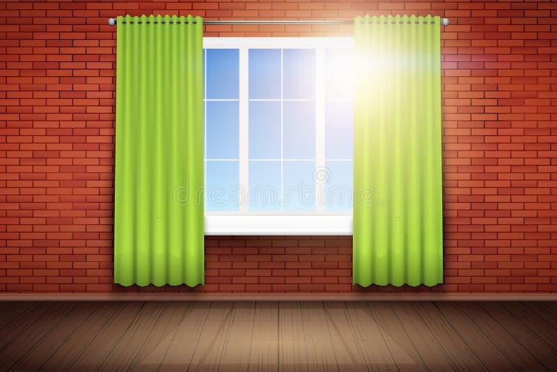 Exemplo da sala vazia com janela ilustração royalty free