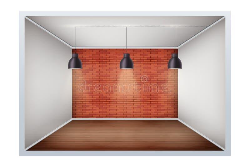 Exemplo da sala vazia com parede de tijolo ilustração stock