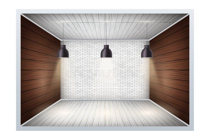 Exemplo da sala vazia com parede de tijolo ilustração royalty free
