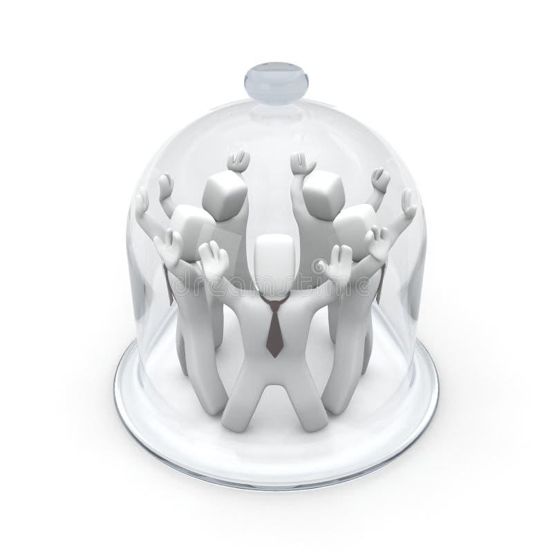 exemplo de vidro coberto dos povos 3D ilustração stock