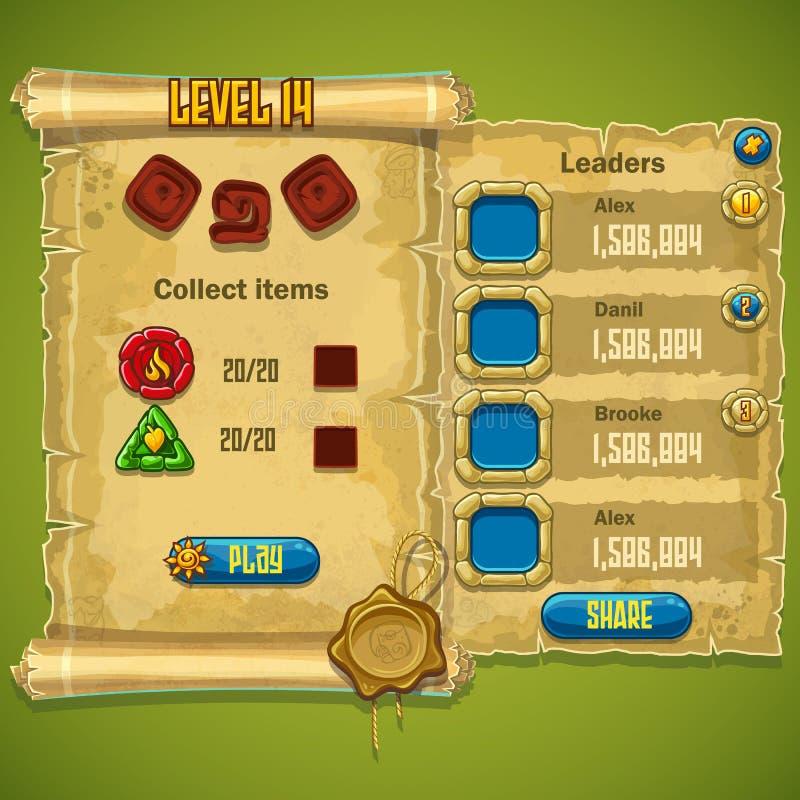 Exemplo do nível da janela selecionado para o jogo de computador ilustração do vetor