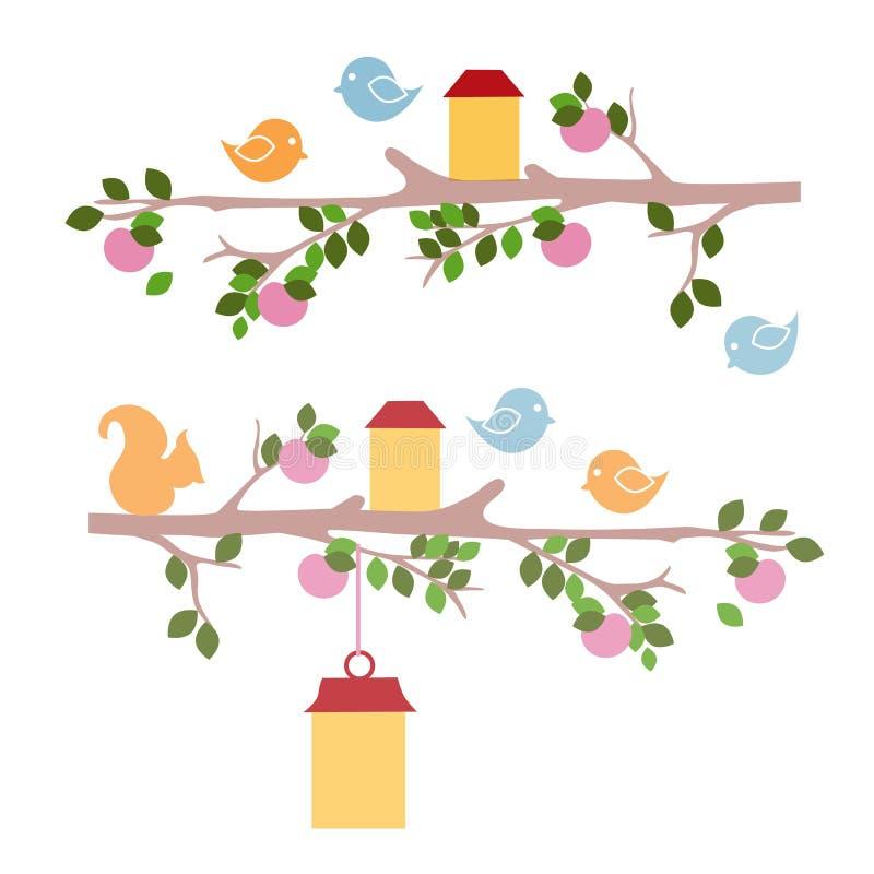 Exemplo dos desenhos do estêncil da parede para o jardim de infância isolados no fundo branco Pássaro e esquilo que sentam-se em  ilustração stock