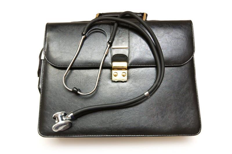Exemplo dos doutores com o estetoscópio isolado no branco fotos de stock royalty free