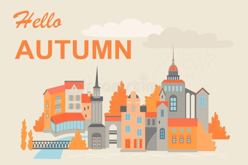 Exemplo vetorial de uma cidade europeia no outono Edifícios com alicerces ao estilo do Norte da Europa nas margens do rio ilustração do vetor