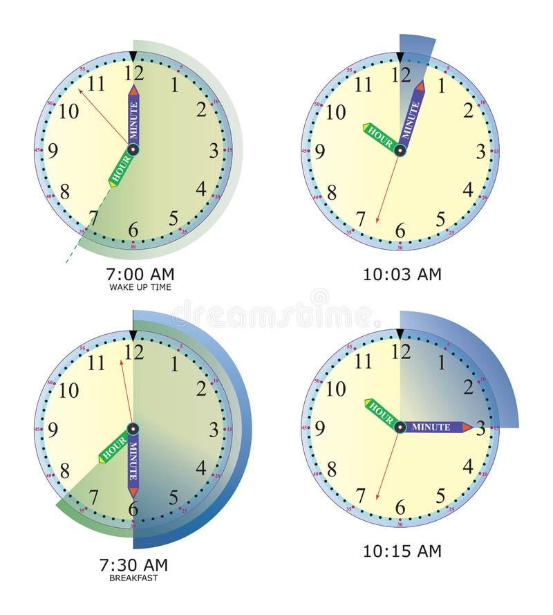 Exemplos de aprendizagem de relógio foto de stock royalty free