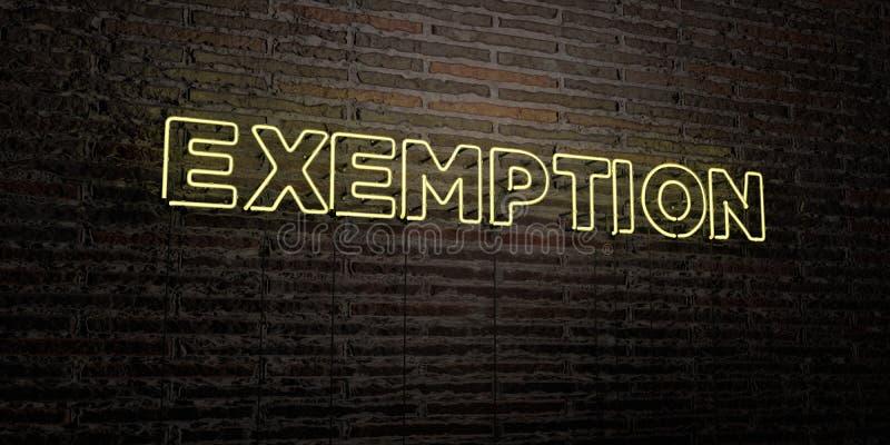 EXEMPTION - enseigne au néon réaliste sur le fond de mur de briques - image courante gratuite de redevance rendue par 3D illustration libre de droits
