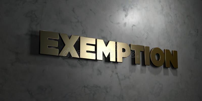 Exemption - texte d'or sur le fond noir - photo courante gratuite de redevance rendue par 3D illustration de vecteur