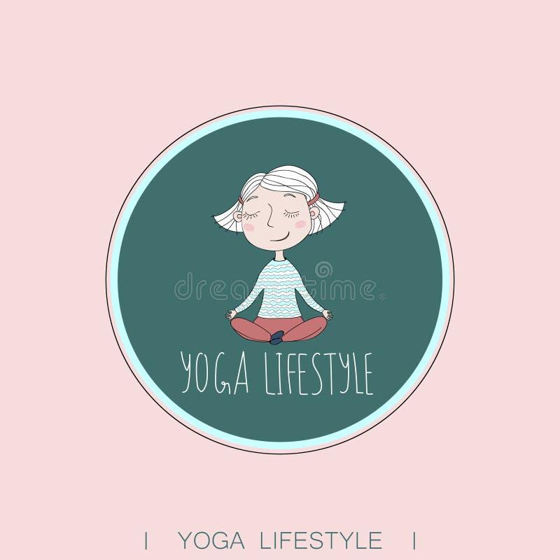 Exercício bonito da ioga da menina ilustração do vetor
