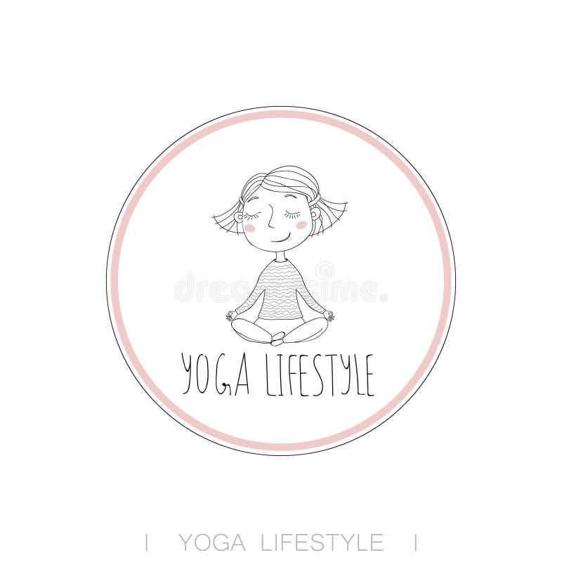 Exercício bonito da ioga da menina ilustração royalty free