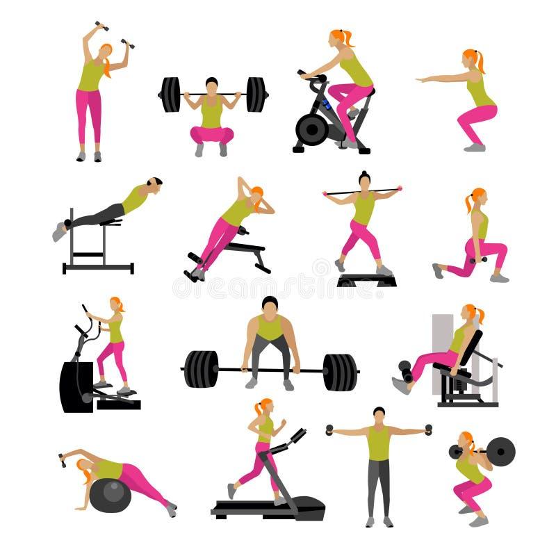 Exercício da aptidão e do exercício no gym Grupo do vetor de estilo liso dos ícones isolado no fundo branco ilustração stock