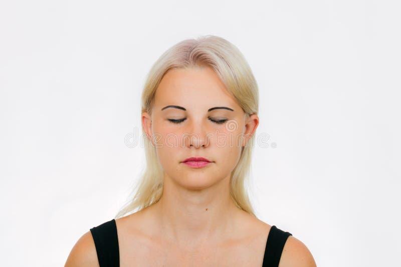 Exercício da cara para as pálpebras foto de stock