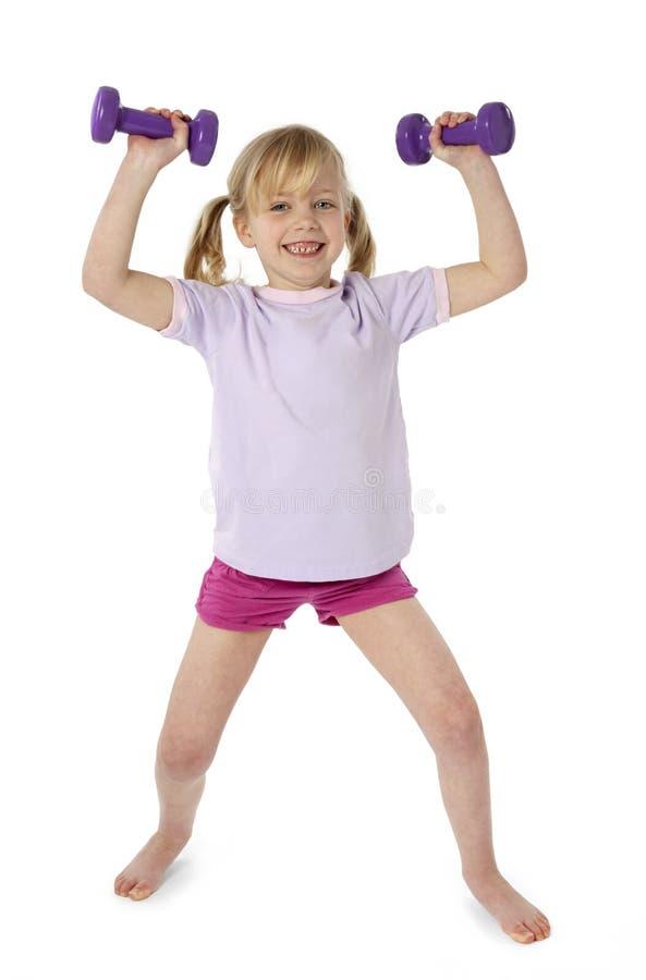 Exercício da criança fêmea fotografia de stock