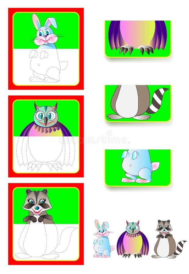 Exercício da lógica para crianças - precise de encontrar as segundas partes dos animais e de tirá-los em lugares relevantes ilustração royalty free